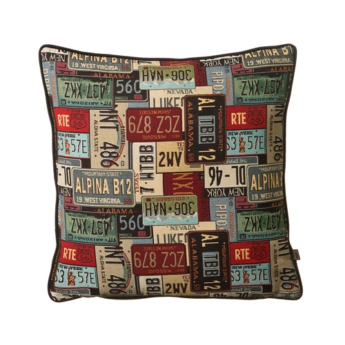 Scatter Box Number Plates 54x54cm Cushion, Red