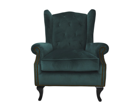 Kingsbury Chair, 102 x 85 x 82 cm, Antique studed detail, Velvet, Upholstery fabric, Sea Green, Green Chair, Winged back, Velvet Chair
