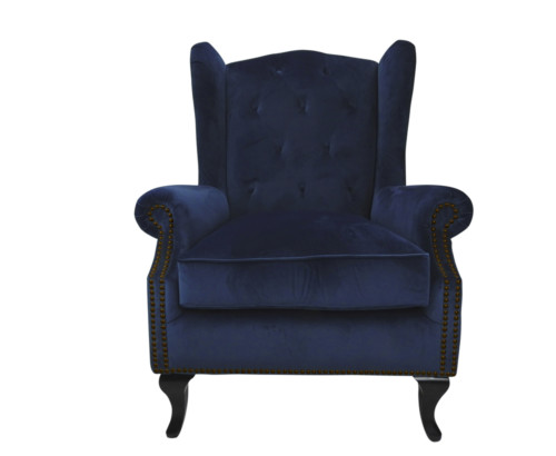 Velvet Chair, Studded Chair, Blue, Kingsbury, Scatter Box, Kingsbury Chair, 102 x 85 x 82 cm, Antique studed detail, Velvet, Upholstery fabric, Royal Blue, Navy Chair, Winged back