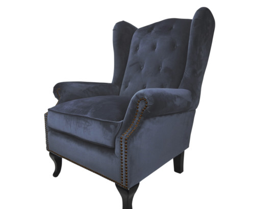Kingsbury Chair, 102 x 85 x 82 cm, Antique studded detail, Velvet, Upholstery fabric, Midnight, Navy Chair, Winged back