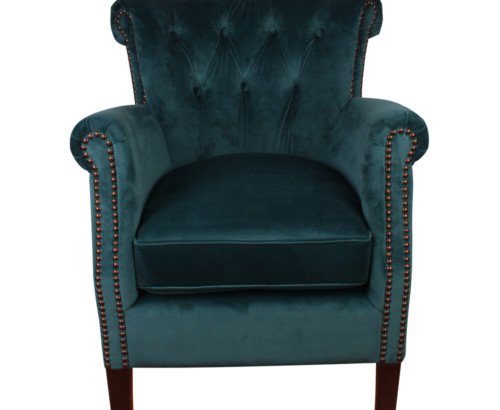 Belvedere Chair, 77 x 65 x 73 cm, Antique studed detail, Velour, Upholstery fabric, Sea Green, Green Chair, Velour Chair