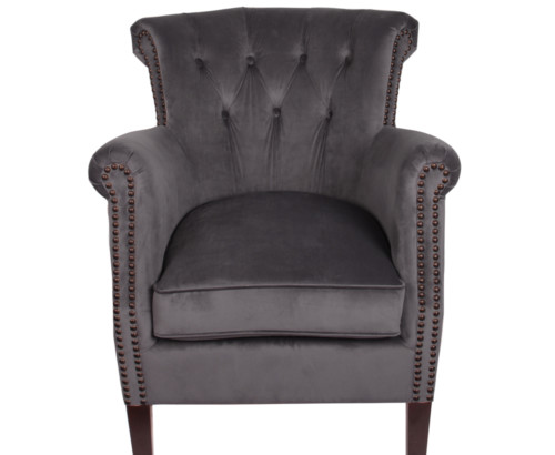 Belvedere Chair, 77 x 65 x 73 cm, Antique studed detail, Velour, Upholstery fabric, Pirate, Grey Chair, Velour Chair