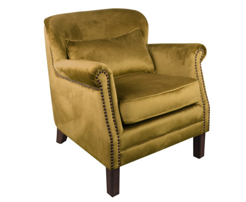 Camden Chair, 77 x 74 x 83 cm, Antique studed detail, Velour, Upholstery fabric, Amber Green, Green Chair, Velour Chair
