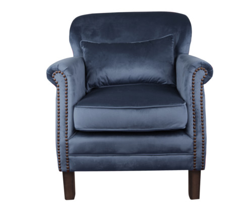 Camden Chair, 77 x 74 x 83 cm, Antique studded detail, Velour, Upholstery fabric, Midnight, Navy Chair, Velour Chair