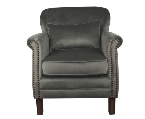 Camden Chair, 77 x 74 x 83 cm, Antique studded detail, Velour, Upholstery fabric, Gunmetal, leather, Grey leather, Grey Chair, Velour Chair
