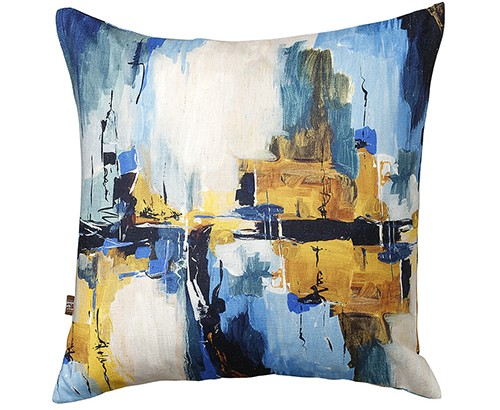 Scatter Box Solas 58x58cm Cushion, Blue/Ochre