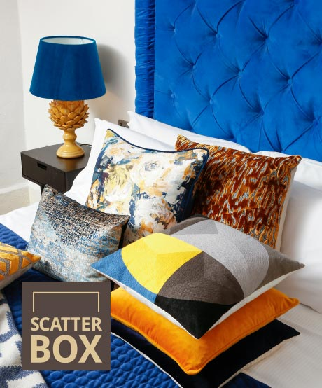 Scatter Box - Home Furnishings Ireland - Equinox Collection - Blue/Ochre/Yellow